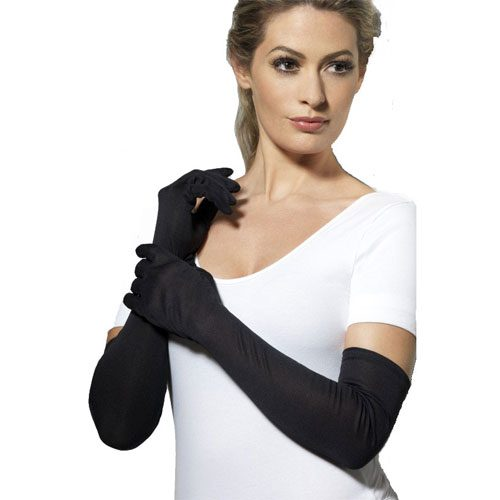 Long Elbow Length Gloves Black
