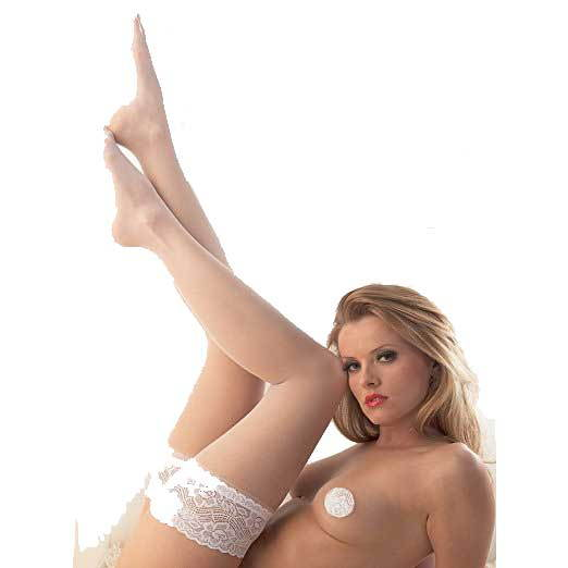 Bridal White satin hold ups deep lace top