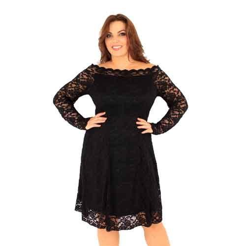 Black Lace Dress Bardot Style