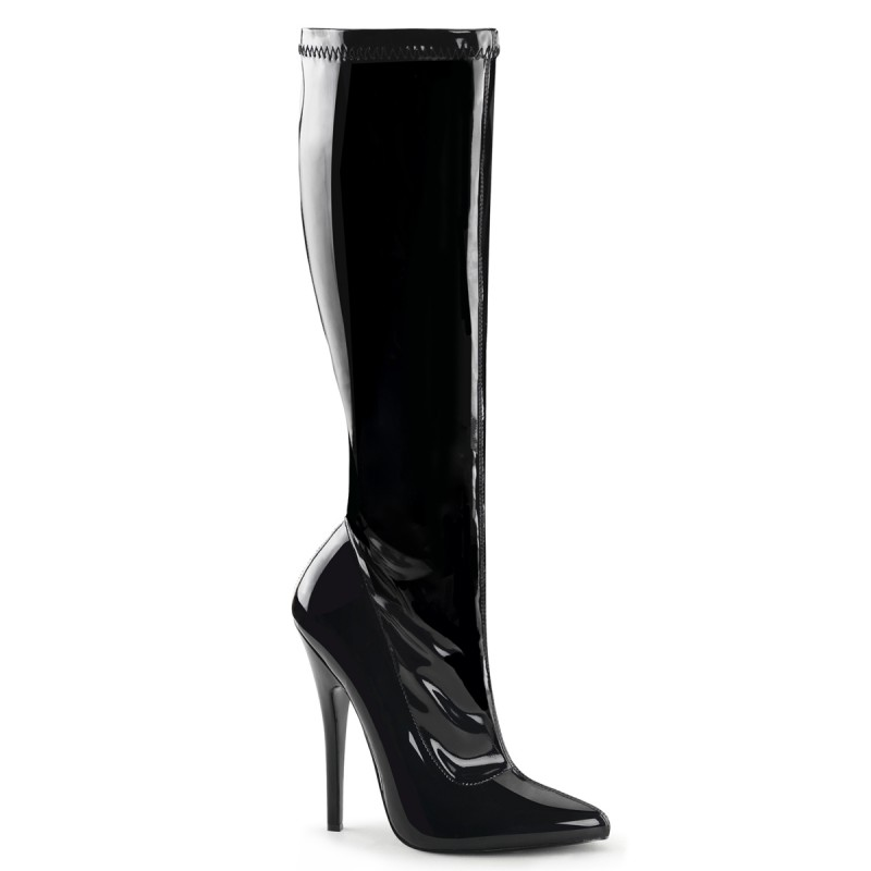 Black Knee High Stretch Patent Boots