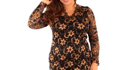 Gold and Black V Neck lace Dress