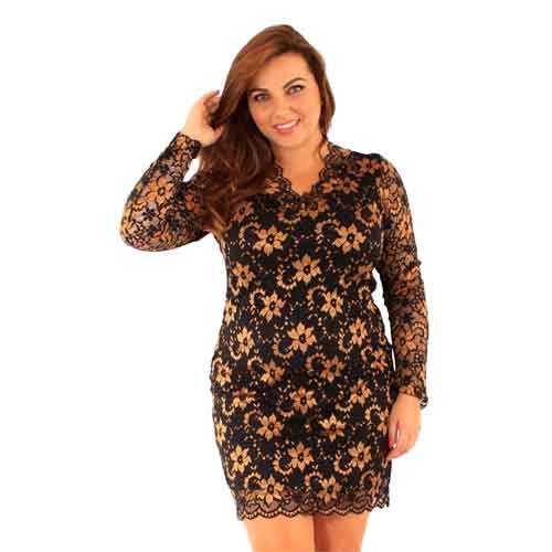 Gold and Black V Neck lace Dress