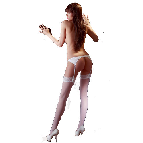 Cottelli white lace top stockings